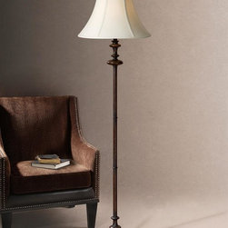 Uttermost - Carolyn Kinder Arnett Floor Lamp in Rustic Br - Bulb not included. Designer: Carolyn Kinder. Wattage: 150W. 18 in. L x 18 in. W x 67 in. H. Assembly InstructionsHeavily burnished rustic Brown finish. The round bell shade is an Ivory linen fabric.