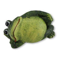 Lounging Cement Frog Indoor/Outdoor Figurine - This little frog is lounging around, taking a break from its busy life. This figurine is equally adorable displayed on a shelf in your home, or nestled into a garden or flower bed. Made of cement, it measures 3 inches tall, 5 3/4 inches long, and 3 inches wide. It is lovingly hand painted, and makes a great gift for a frog loving friend.