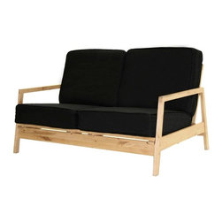 Dorel Home Products - Baltic 44 in. Loveseat - Includes textured polyester detachable cushions. Sturdy and durable. Black pocket coil cushions for ultimate comfort. Converts quickly and easily into sleeper. Warranty: One year. Natural wood finish. 75.5 in. L x 24 in. W x 44 in. H (44 lbs.). Assembly Instructions