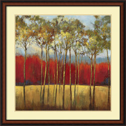 Amanti Art - Asia Jensen 'In the Horizon I' Framed Art Print 35 x 35-inch - This stunning art print will infuse your walls with warmth. In shades of orange, burnt umber and blue, this landscape celebrates the glorious colors of a changing season.