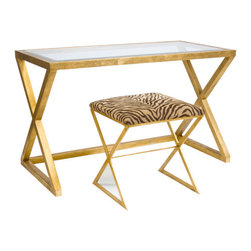 Worlds Away Mark Desk-Console - Gold leaf desk with beveled glass top.