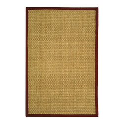 """Safavieh - Natural Fiber Brown/Red Area Rug NF114D - 2'6"""" x 14' - Hand-woven with natural sea grass, this casual area rug is innately soft and durable.  This densely woven rug will add a warm accent and feel to any home.  The 100-percent cotton canvas backing adds durability."""