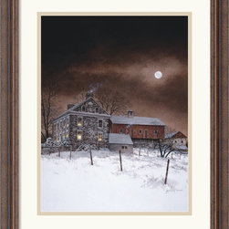 Amanti Art - Oley White Framed Print by Ray Hendershot - When the constant blaring of sirens and car alarms get you down, feast your eyes upon this serene country image. Let your mind wander away from your urban environment and into the peaceful snowy scene of this beautiful print by artist Ray Hendershot.