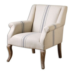 Uttermost - Uttermost - Lekso Armchair In White Wash Oak - 23204 - A soft, blue ticking stripe accents the neutral linen on this conversation chair with white washed oak legs adding to the casual, vintage feel. Seat height is 19â?.