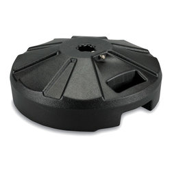 "Patio Living Concepts - Black Umbrella Base - Outdoor - Sturdy and reliable, this Black Umbrella Base – Outdoor is not only a molded resin umbrella base stand consisting of stainless steel hardware, it contains an attractive way to secure the sand weight inside it's dependable and well-molded body.  This rugged Black Resin Molded Umbrella Stand features an easy-fill spout and locking screw-on cap that allows weighting with up to 50 lbs.  of sand.  Crafted of molded resin with stainless steel hardware, this purpose-built stand delivers unsurpassed durability.  Lightweight for easy shipping, it has a locking screw-on cap that makes it easy to fill with sand. * All bases and base stands are individually boxed, unweighted, and available in five colors.Fully weighted, these bases offer slightly over 50 lbs. of heavy holding force for any umbrella.. Each model features a locking screw-on cap to hold the sand weight inside it's durable molded resin body.. This feature enables dealers or consumers to purchase sand for weighting at their local home stores and easily fill the bases with sand themselves to reduce shipping costs.. All stainless steel hardware.. Molded resin umbrella base stand has stainless steel hardware.. For use with table umbrellas with up to 1 1/2 inch dia. pole.. Easy fill spout & cap to secure up to 50 lbs. of sand filler for weight (sand not included). 16"" dia. x 11 1/2"" ht."