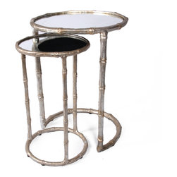 Cane Nesting Accent Table - Champagne - Fashioned after sweet sugarcane stalks and ready to accent any space, the Bliss Studio Cane Nesting Tables are a darling way to incorporate additonal table space in your d�cor. Resting one inside the other, use one or both as needed and bring a delicate touch to your living room or den. Mirrored tops bring a light reflecting shine to the piece and are available in an antiqued gold or champange hued finish.