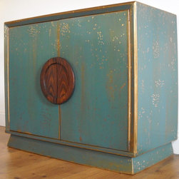 Glam Teal and Gold Cabinet - Oblique view of the cabinet.
