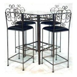 Grace Collection - French Traditional Breakfast Table Base (Gun - Finish: Gun MetalVery stylish and affordably priced.  This is a delightful French Traditional style table base that will fit a breakfast nook or any open space.  Wrought iron scrolling is beautifully encased in the upper trim.  Call us to order the complementing glass top. * Very stylish and affordably priced.. This is a delightful French Traditional style table base that will fit a breakfast nook or any open space.. Wrought iron scrolling is beautifully encased in the upper trim.