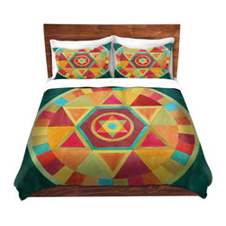 DiaNoche Designs - Duvet Cover Microfiber by Jennifer Baird - Mandala II A - DiaNoche Designs works with artists from around the world to bring unique, artistic products to decorate all aspects of your home.  Super lightweight and extremely soft Premium Microfiber Duvet Cover (only) in sizes Twin, Queen, King.  Shams NOT included.  This duvet is designed to wash upon arrival for maximum softness.   Each duvet starts by looming the fabric and cutting to the size ordered.  The Image is printed and your Duvet Cover is meticulously sewn together with ties in each corner and a hidden zip closure.  All in the USA!!  Poly microfiber top and underside.  Dye Sublimation printing permanently adheres the ink to the material for long life and durability.  Machine Washable cold with light detergent and dry on low.  Product may vary slightly from image.  Shams not included.