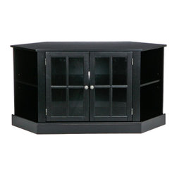 "Holly & Martin - Holly & Martin Parkridge Corner Media Stand, Black - Traditional styling with modern convenience, this corner media stand is finished with a satin black paint and faced with lovely windowpane doors. Capable of holding up to a 42"" TV, this corner media stand is ideal for any room. The spacious center storage area is complete with one adjustable shelf and cord management behind the stylish glass doors. On either side sits a corner shelf for storing media, books, or decoration in an open display style."