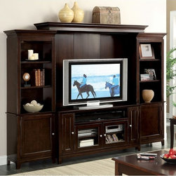 Riverside Furniture - Riverside Marlowe Entertainment Center - Warm Ebony - RVS2736 - Shop for Visual Centers and Stands from Hayneedle.com! The Riverside Marlowe Entertainment Center Warm Ebony adds a striking look to your entertainment enclave with its gorgeous poplar and birch veneers and rich hand-polished warm ebony hue. Three exposed shelves located on each side pillar allow you to personalize this piece by displaying your favorite photos and decor a halogen light shines down to spotlight these items adding warmth and interest. Keep unsightly entertainment accessories out of view in each of the five enclosed cabinets each one opens to reveal adjustable shelving with wiring holes and ventilation to keep your home feeling neat and organized. Brushed silver door handles and beveled glass detailing add to the overall quality this unit features. Notes on Riverside ConstructionAll Riverside domestic furniture is constructed of fine oak ash poplar and pine wood. These wood types are durable and feature beautiful open grains that make them much preferred among furniture manufacturers. Each piece of wood is first graded for quality then kiln-dried to remove excess moisture and prevent splitting. The wood is then constructed into a high-quality furniture piece using a combination of hardwood solids and hand-selected veneers. Techniques used on Riverside pieces include dovetail joinery heavy-duty drawer roller guides and multi-step finish applications that include hand-sanding and polishing for a deep lustrous result. All Riverside furniture is given this high-quality treatment to ensure the beauty and durability of your final product.About Riverside FurnitureRiverside has been growing for more than half a century. The company's founder Herman Udouj opened the doors to his first factory in 1946 and along with 12 employees he began making handcrafted furniture for the post-World War II Baby Boom era. Since then generations of customers have furnished their homes and offic
