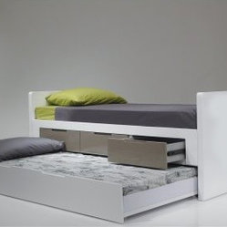 Jack & Jill Twin Trundle Bed - High Gloss White