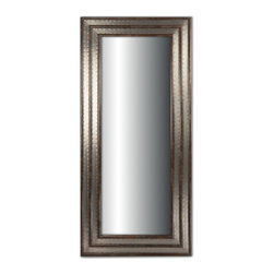 Kathy Kuo Home - Egmont Industrial Style Rustic Metal Double Frame Floor Mirror - L - This tall floor mirror has double the style with two wood and metal frames. The result is an artistic combination of natural brown wood and brushed silver. The impressive dimensions will open up any area. We love this piece for a dressing room or bedroom.