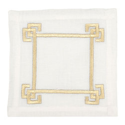 Greek Key Cocktail Napkins, White/Gold/Silver - Gold and silver Greek key cocktail napkins add a very sophisticated and elegant touch.