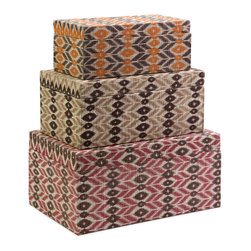 iMax - Zyanya Boxes, Set of 3 - With printed mendong grass interior, this set of two Zyanya trays feature unique pattern and a glass insert. Comes in small, medium and large stackable set.