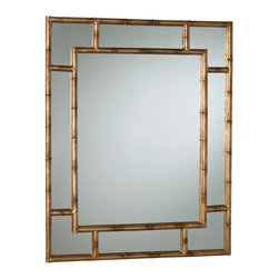 Kathy Kuo Home - Hollywood Regency Faux Bamboo Gold Leaf Rectangle Mirror - Some things never go out of style, like gold bamboo.  This excellent piece, a rectangle framed mirror, would work in a traditional French setting, an eclectic traditional one, or even in a Hollywood Regency space.