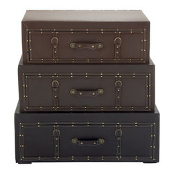Benzara - Set of 3 Modern and Classic Style Wood Leather Trunk Cabinet Home Decor - Description: