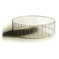Contemporary white round glass top Coffee Table Kamo - Contemporary round Coffee Table Kamo consists of a white glass top and a stylish chromed stainless steel base. Simple and nice.