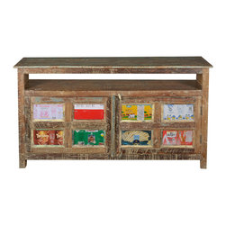 "Sierra Living Concepts - Reclaimed Wood Hall Console Table - Bring a splash of color into your hall or living room with our Reclaimed Wood Hall Console Table. The rustic 34"" tall, 16"" wide hallway table is built with reclaimed wood from Gujarat that has been naturally distressed over time."