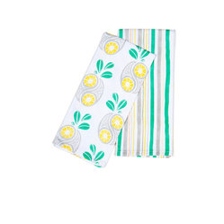 Working Class Studio - Savannah Paisley Collection - Pineapple - Two Tea Towels - Give your table setting a fresh, tropical twist with these perky paisley pineapple tea towels. The juicy print and coordinating stripe capture the feel of sunny Southern coastal climates with playful modern style. Use the tea towels as napkins, tray liners or warm bread and pastry covers.