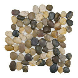 Somertile - SomerTile 12x12-in Riverbed Multi Natural Stone Mosaic Tile (Pack of 10) - Bring the calm, peaceful feeling of a river into your home with this lovely natural stone tile from SomerTile. Each tile is a collection of various smooth river stones that create an understated elegance. The tiles can be used indoors or outdoors.
