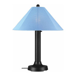 """Patio Living Concepts - Patio Living Concepts Catalina 34 Inch Table Lamp w/ 3 Inch Black Body & Sky Blu - 34 Inch Table Lamp w/ 3 Inch Black Body & Sky Blue Sunbrella Shade Fabric belongs to Catalina Collection by Patio Living Concepts Carefree durability while adding a touch of style to any outdoor living area. Catalina Table Lamp 39640 features a 3"""" black body, heavy weighted base and sky blue Sunbrella shade fabric. 16 ft. weatherproof cord and plug. Two level dimming switch. Model # 39640 Lamp (1)"""