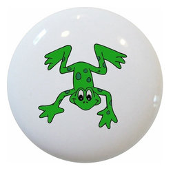 Carolina Hardware and Decor, LLC - Leaping Frog Ceramic Knob - New 1 1/2 inch ceramic cabinet, drawer, or furniture knob with mounting hardware included. Also works great in a bathroom or on bi-fold closet doors (may require longer screws). Item can be wiped clean with a soft damp cloth. Great addition and nice finishing touch to any room!