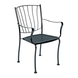 Woodard - Wrought Iron Stacking Dining Chairs w Arms - Aurora-Set of 4 (Bronze) - Finish: Bronze. Set of 4. All products are made to order. Orders cannot be cancelled after 5 calendar days. If order is cancelled after 5 calendar days, a 50% restocking fee will be applied. Made of Wrought Iron. 22.4 in. W x 23.9 in. D x 33.8 in. H (18 lbs.)