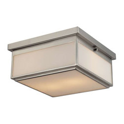 Elk Lighting - Elk Lighting 11464/2 Flushmounts Modern Flush Mount Ceiling Light - Elk Lighting 11464/2 Flush mounts Modern Flush Mount Ceiling Light in Brushed Nickel. Opal white glass