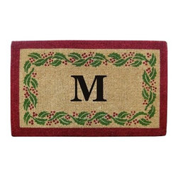 Creative Accents Heavy Duty Coir Mat Holly Ivy Border with Monogram - Perfect for the holidays the Monogramming is included warmly welcomes people into your home. Crafted from naturally harvested coir fibers this mat is hand woven using traditional looms and then sheared to create a dense pile that helps to clean shoes and trap dirt and moisture. It's hand-tufted fibers and heavy coir fiber backing also helps to keep the mat in place and locks the fibers in place to minimize shedding. Fade-resistant dyes are used so you can enjoy the vibrant colors and pattern for years. Coir is a renewable resource and the mat is completely biodegradable and compostable. Best used in sheltered areas such as a covered porch this mat can cause color transfer to natural stone concrete and other surfaces if it's excessively exposed to the elements. Naturally mold- and mildew-resistant this gorgeous mat will have some slight variations in size color and texture giving each mat its own unique characteristics. It's also normal for the mat to shed fibers during the first few weeks it's used. Monogramming is included. Additional Features Coir fibers are a renewable resource Mat is biodegradable and compostable Designs are hand stenciled on the mat Made with fade-resistant dyes Best used in sheltered areas Avoid exposure to extreme moisture and sunlight Excessive exposure can cause color transfer Variations in size color and texture are normal Mat will shed fibers the first few weeks Clean by occasionally giving a good shake Monogramming is included Can be used indoors or out