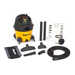 "Shop Vac - Shop-Vac 9551800 6.5-Peak Hp Ultra Pro Series Wet Or Dry Vacuum, 18-Gallon - Vac is full featured wet/dry vac with 18 foot power cord, inlet accepts both 1.25"", 2.5"" and 3.5"" hoses. Includes; 8' x 2.5"" LockOn  hose, (2)-2.5"" extension wands, 14"" wet dry floor nozzle, 8"" utility nozzle, 2.5"" crevice tool, elbow grip, accessory tool   bag; disposable filter bag, ProLong  cartridge filter.          Cap Gal.=18"
