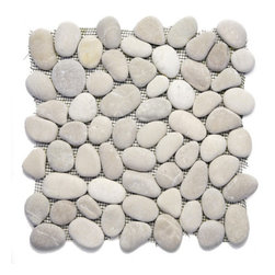 Glass Tile Oasis - Brookstone Pebbles and Stones Cream/Beige River Rock Tiles Tumbled Natural Stone - During manufacturing the pebbles are hand sorted into like colors and sizes and individually glued onto mesh backing. As a result product will vary in size shape and color. Colors represented online may not show full range of variation. It is not unusual to find occasional imperfections veins and lines of separation within the pebbles. This variation is considered to be a desired feature in the product.