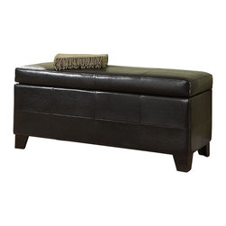Modus Furniture - Modus Upholstered Milano Blanket Storage Bench in Black Leatherette - Modus Furniture - Bedroom Benches - ML0293F - Add a degree of contemporary elegance to any room in your home with the Milano Blanket Storage Bench. Distinctive bi-angle wood feet rest beneath a black leather paneled storage box covered by a similarly leather paneled padded seat-top. A black finish combines with the black wood finish of the feet to complete the look and appeal of the Milano bench.Features: