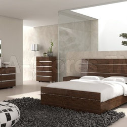 Dream Modern 5 PC Bedroom Set in Walnut (Bed, 2 Nightstands, Dresser and Mirror) - Create an inviting and warm atmosphere in your master bedroom with this Dream Modern Bedroom Set by At Home USA. The set is comes in Walnut finish that adds a warm look to any bedroom. The pieces offer plenty of storage space for all your bedroom essentials.