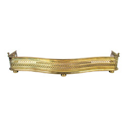 Brass Federal-Style Fireplace Fender - Antique brass fire guard in the Philadelphia Federal-style with pierced grill and cast iron base. No maker's mark.