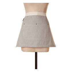 Birdkage - Brittany Mini Half Apron, Black - This stylish apron moves easily from kitchen to craft studio to store counter, so you'll look dressy while you're getting messy. Made of cotton in a classic ticking stripe, it features a contrasting waistband and blue jean rivets at the pockets. Comes in a reusable muslin drawstring bag.