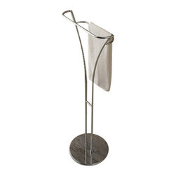 Toscanaluce - Free Standing Polished Chrome Towel Stand - Unique, modern design free standing polished chrome towel stand.