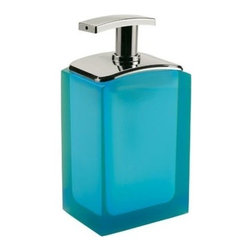 Gedy - Free Standing Soap Dispenser, Turquoise - Modern free standing soap dispenser that comes in light blue, ruby red, orange, lilac, turquoise, transparent white. This contemporary square soap dispenser is made out of thermoplastic resin. Designed in Italy by Gedy. Square contemporary soap dispenser. Thermoplastic resin with light blue, ruby red, orange, lilac, turquoise, and transparent white finish. From the Gedy Antares collection.
