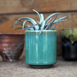 Ceramic Iced Teal Cup-Mini Planter - Here's a beautifully glazed mini-planter.