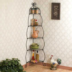 Southern Enterprises - Yuliss Metal Scrolled Black Corner Etagere - KA9165 - Shop for Caddies and Stands from Hayneedle.com! Raise your corner to its full potential with the decorative Yuliss Metal Scrolled Black Corner Etagere. This beautiful stand is made of black scrollwork metal that's tiered with five levels of shelf space. The unique design makes it great for turning drab corners into incredible display areas for your prized possessions. It's sturdy it's elegant and it looks great in any room. Assembly required.About SEI (Southern Enterprises Inc)This item is manufactured by Southern Enterprises or SEI. Southern Enterprises is a wholesale furniture accessory import company based in Dallas texas. Founded in 1976 SEI offers innovative designs exceptional customer service and fast shipping from its main Dallas location. It provides quality products ranging from dinettes to home office and more. SEI is constantly evolving processes to ensure that you receive top-quality furniture with easy-to-follow instruction sheets. SEI stands behind its products and service with utmost confidence.