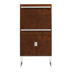 """Belle Meade - Belle Meade Dino Server - Belle Meade Signature reinvents a classic bar cabinet with the boldly contemporary Dino server. Modern with stainless steel accents, its clean-lined doors and drop lid conceal ample shelving. 30""""W x 18""""D x 60""""H; Walnut veneers and solids; Java brown finish; Polished stainless steel hardware and base; Top drop lid for mixing/serving; Top case: Adjustable glass shelf; Bottom cabinet: Adjustable wood shelf; Multi-setting light switch"""