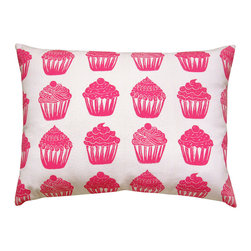 """artgoodies - Cupcake Pattern Pillow - A cute accent pillow for your couch, chair, or bed and the perfect travel companion! An original hand carved block print has been made into a repeating pattern, then hand printed and sewn into a removable pillow sham just for you! Pillow insert included! Measures  12"""" x 16""""."""