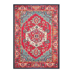 """Safavieh - Charmine Rug, Red / Turquoise 6'7"""" X 9'2"""" - Construction Method: Power Loomed. Country of Origin: Turkey . Care Instructions: Vacuum Regularly To Prevent Dust And Crumbs From Settling Into The Roots Of The Fibers. Avoid Direct And Continuous Exposure To Sunlight. Use Rug Protectors Under The Legs Of Heavy Furniture To Avoid Flattening Piles. Do Not Pull Loose Ends; Clip Them With Scissors To Remove. Turn Carpet Occasionally To Equalize Wear. Remove Spills Immediately. Free-spirited and vibrantly colored, Monaco Collection rugs bring Bohemian-chic flair to folkloric and formal Persian designs. A mix of high and low loop pile is power-loomed of long-wearing polypropylene in classic textures and trendy erased-weave looks."""