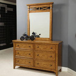 "Lea Industries - Lea Americana 6 Drawer Dresser w/ Portrait Mirror in Khaki Oak - Khaki Oak Finish accented with light distressing and burnished edges with subtle highlights add interest with the natural character of the wood. Developing a youth group that has a broad appeal for both boys and girls; young and old was the inspiration behind Americana. A cleaner, American casual group with lot's of appeal to fit any lifestyle. ""Standard"" chest of drawers and night stand, and Saw Horse desk takes up less wall space than a pedestal desk and is more laptop friendly and easy to move. Something new being offered is the Loft Beds with cases that nest under the unit. An eclectic mix of materials and finishes gives this group a unique, but comfortable flavor and design. - 237-261-040.  Product features: Belongs to Americana Collection by Lea; Khaki Oak Finish; Light distressing and burnished edges; Asian Hardwoods & White Oak Veneer; Eclectic mix of materials and finishes; 6 Drawers. Product includes: Dresser (1); Mirror (1). 6 Drawer Dresser w/ Portrait Mirror in Khaki Oak belongs to Americana Collection by Lea."