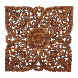 Kammika - Lotus Panel Recycled Teak Inlay Square 60 cm 24 inch w Eco  Livos Light Teak Oil - Approximately 24 inches square, our Lotus Panel Reclaimed Recycled Teak Inlay Square 60 centimeter Height with Eco Friendly Livos Light Teak Oil Finish Wall Panel is a detailed carving of our Lotus theme. Several recycled rough-hewn teak planks from old dwellings and community buildings are joined together and then carved as a single unit. Each piece is hand carved out of reclaimed and recycled old teak wood selected to match as close as possible in thickness and colorations. Each piece is unique and variations in wood color are evident, although the carvers strive to make as close a match as possible before starting. Still the colors will vary naturally just like the trees the wood came from many years before. We lightly sand the carved surfaces to create brown highlights, and then Livos Light Teak Oil Finish is applied. Our wall panels are exquisite expressions of beauty that could become the centerpieces of any room they grace. All are hand carved by craftspeople in Thailand, who spend hours shaping, sanding, and finishing these wonders of wood. The talent behind these creations is readily visible. They are works of art that are sure to be treasured for generations to come. Because each piece is a unique creation, some variations may occur, but one thing will always remain consistent - the beauty of each panel, and the joy it will bring to you. Each piece is kiln dried, sanded, hand rubbed with eco friendly all natural wax; and then packaged with cartons from recycled cardboard with no plastic or other fillers. As this is a natural product, the color and grain of your panel will be unique, and may include small checks or cracks that occur when the wood is dried. Sizes are approximate. Products could have visible marks from tools used, patches from small repairs, knot holes, natural inclusions, and/or worm holes. There may be various separations or cracks on your piece when it arrives. There may be some slight variation in size, color, texture, and finish color.Only listed product included.
