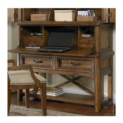 "A.R.T. - Copper Ridge Multimedia Door Chest Base - Whether you choose to use this multimedia door chest for TV and media storage, as a wardrobe or as a desk, this highly versatile piece delivers extensive storage space while making a strong design statement. The wrap-around doors feature rustic hickory veneer with quartered cherry border and conceal a space for a TV sized up to 42"" with ventilation and wire management. Two adjustable shelves with removable clothing dividers turn the space into an organized wardrobe and when the front door is pulled down the desk workspace is revealed, with removable dividers and two working drawers to hold mail and stationary. The two drop down drawers add extra storage space for DVD, cable box or clothing and the bottom fixed shelf with the X shaped back maximizes display and storage function. The base of the unit can be purchased separately as a TV console. Features: -Material: Sturdy Radiate solids and Hickory veneers with quartered Cherry veneer border.-Smooth wood on wood drawer guides.-English dovetailed drawer fronts and backs.-Two adjustable shelves.-42.5"" H x 51"" W x 19"" D, 154 lbs.-Rich hand rubbed Harvest Brown finish.-Sealed and finished drawer interiors.-Distressed: No.-Collection: Copper Ridge.Dimensions: -Overall Product Weight: 154 lbs."