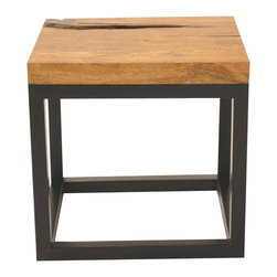 Rotsen Furniture - Reclaimed Wood Side Table, Mango Top - Two good woods come together for a simple yet striking statement. The exotic mango wood top sits over a stained oak base — a strong, simple addition to your contemporary decor.