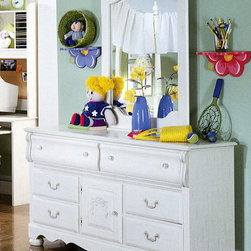 Standard Furniture - Double Dresser w Cabinet Door - Diana - The Diana double dresser is as pleasing to the eye as it is practical for a child�۪s bedroom. Center cabinet door creates the focal point with side drawers and bail handles. Top drawers are side scalloped to add dainty appeal. A little old-world glamour is combined with sweetly soft designs in the form of this double dresser, featuring Victorian style overlays with its pure white surface. The lovely and charming Diana Dresser with Door from the Kathy Ireland Collection showcases classic Victorian themes that never go out of style. * Top drawers are felt lined to protect delicate items. Victorian style overlays grace every piece adding a soft and feminine feel.. Bun feet raise cases off the floor.. Mirror attaches to the dresser with sturdy mounting brackets.Case doors open to reveal spacious storage compartments.. A bachelor chest, sweater chest, and a hutch desk are three functional pieces that facilitate the life of the active child.. The hutch features two CD towers and a corkboard back for pinning notes or pictures.. Profiled toe plates complement overall flowing feel.. Materials: Wood products with simulated wood grain laminates. This group may contain plastic parts.. Construction: Some pieces feature open panel construction with metal roller bearing glides. Other pieces feature folded case side construction with center-mounted runners. Mirrors are back mounted and reinforced.. Hardware: Brushed-white, brass color swing bail pulls and clear plastic knobs.. Finish: Simulated, white wash wood grain color.. Care: Surfaces clean easily with a soft cloth.. 58 L x 16 W x 32 H in.