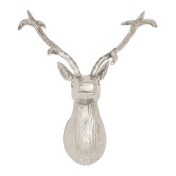 Amazingly Real Aluminum Reindeer Head - The focus these days is on being environmentally aware. And this raises ethical issues like can a real reindeer head be displayed on a wall? Well you needn't worry about that issue anymore because This aluminum reindeer head will create the feel of the real! With This aluminum reindeer head you will add the wow factor to your decor. Bold, beautiful and grand, it can grace your living room or your bedroom. It has a lovely silver finish and has also been made from quality aluminum. This ensures that it will last in great condition for years to come. Guests will be impressed and conversations are sure to start. It can also make into a great gifting item. But most importantly it will show that you are caring towards the environment, and this is what will impress everybody the most.