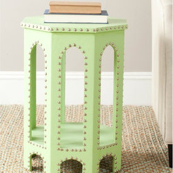 Safavieh - Safavieh Nara Light Green Accent Table - Bring a bit of color to your decor with this light green accent table. The contemporary piece features a faux-leather cover with gothic arches and detailed with iron nailheads,creating a table that will look great next to your couch.